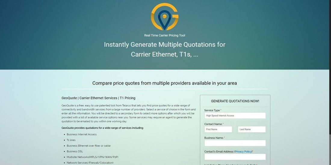 Geoquote-carrier -pricing-tool